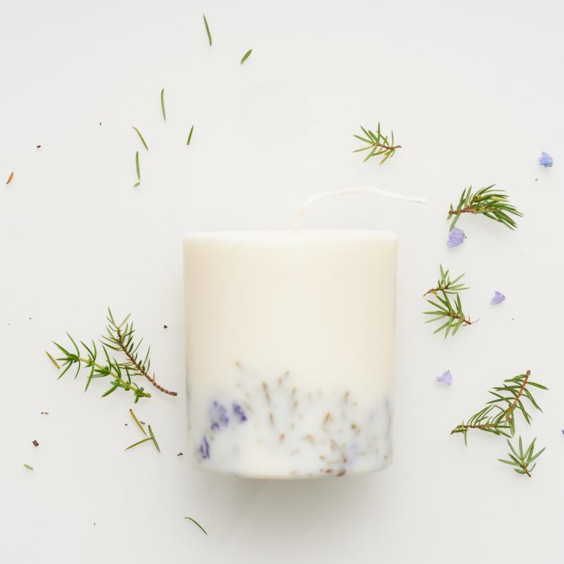 Juniper&limonium+candle